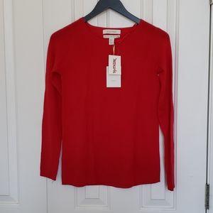 NWT Ellen Tracy Red Merino Wool Sweater